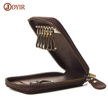 Joyir 100% Genuine Leather Key Wallets Women Key Holder Purse Men Zipper Car Key Case Casual Package Head Layer Cowhide Bag K013