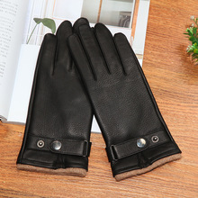 Genuine Leather Gloves Male High Quality Thick Black Deerskin Gloves Classic Fashion Winter Warm Wool Knitted Lined DQ107 hestra deerskin winter lined dark brown