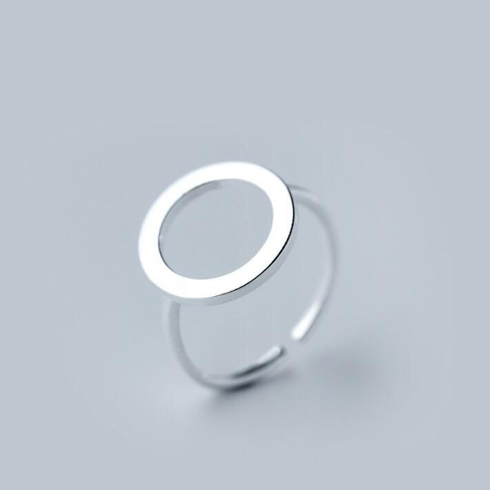 Jisensp ювелирные изделия в стиле минимализма серебряные геометрические кольца для женщин с регулируемой окружностью треугольник сердцебиение кольца на фаланги pour femme - Цвет основного камня: SYJZ010