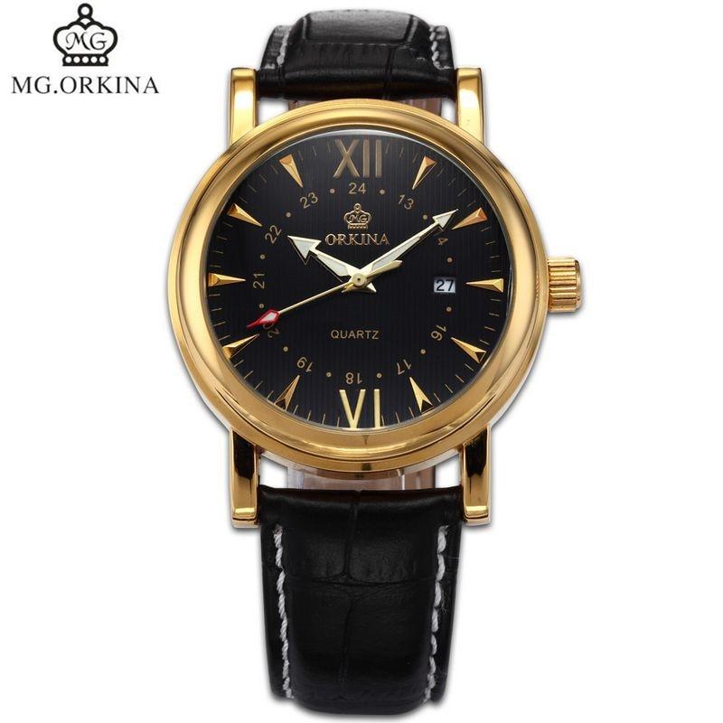 Orkina Simple Men s Erkek Kol Saati Quartz Day Watches PU Leather Wristwatch Gifx Box Free