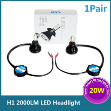 1Pair H1 White 20W 2000LM LED Bulbs White Plug & Play Car Headlight Fog Lights Daytime Running Lights