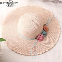 BINGYUANHAOXUAN 2018 Hot Big Brim Sun Hats for Parent-Child Models Foldable Straw Hat Female Casual Ombre Summer  Beach cap