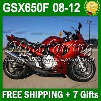 7gifts For SUZUKI GSX650F all red 08 09 10 11 12 GSX 650F GSX650 F GSXF650 #334 2008 gloss dark red 2009 2010 2011 2012 Fairing