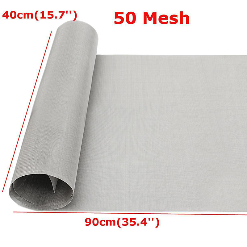 Non-toxic 50 Mesh Filtration 304 Stainless Steel Silver Woven Wire Cloth Screen 40 x 90cm For Industrial Tools