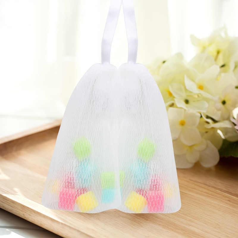 Mrosaa Nylon + gąbka łazienka spieniania Mesh SPA prysznic gąbka do kąpieli szczotka do czyszczenia twarzy piłkę z hakiem produkty łazienkowe