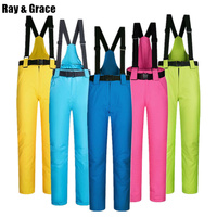 RAY GRACE Winter Outdoor Sports Pants Ski For Men and Women Snow Snowboard Trousers With Suspenders Thicken Thermal Waterproof