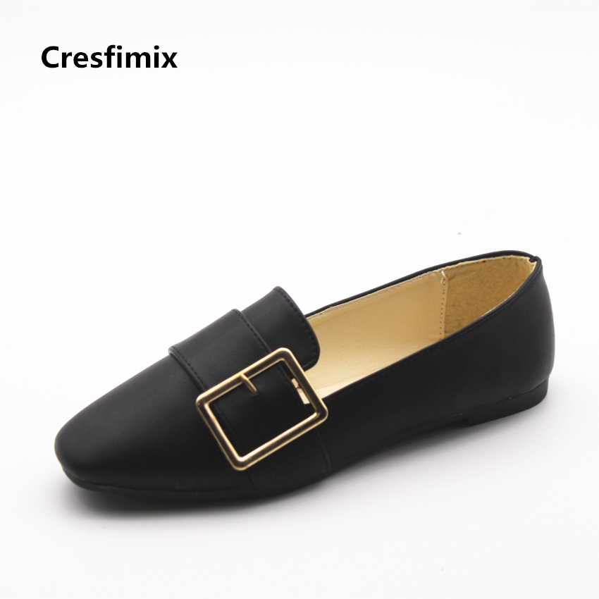 Cresfimix sapatos femininas women casual soft pu leather comfortable slip on flat shoes lady cute summer black shoes cool shoes cresfimix women cute black floral lace up shoes female soft and comfortable spring shoes lady cool summer flat shoes zapatos