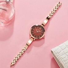 CURREN 패션 드레스 숙녀 팔찌 시계 여성 쿼츠 스테인레스 스틸 밴드 손목 시계 뜨거운 선물 여성 시계 Reloj Mujer