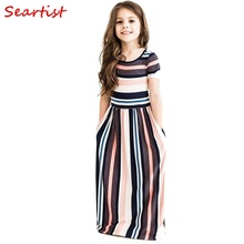 Seartist Baby Girls Beachwear Long Dresses Girl Bohemian Striped Dress Princess Summer 2-10T Bebe Clothes 2019 New C38