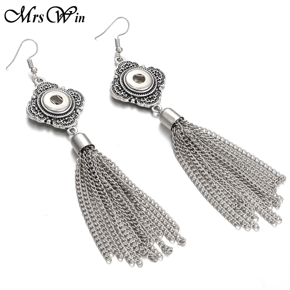 New Snap Jewelry Mini 12mm Snap Button Earring for Women Bohemia Long Tassel Drop Earrings Fit Snap Buttons image