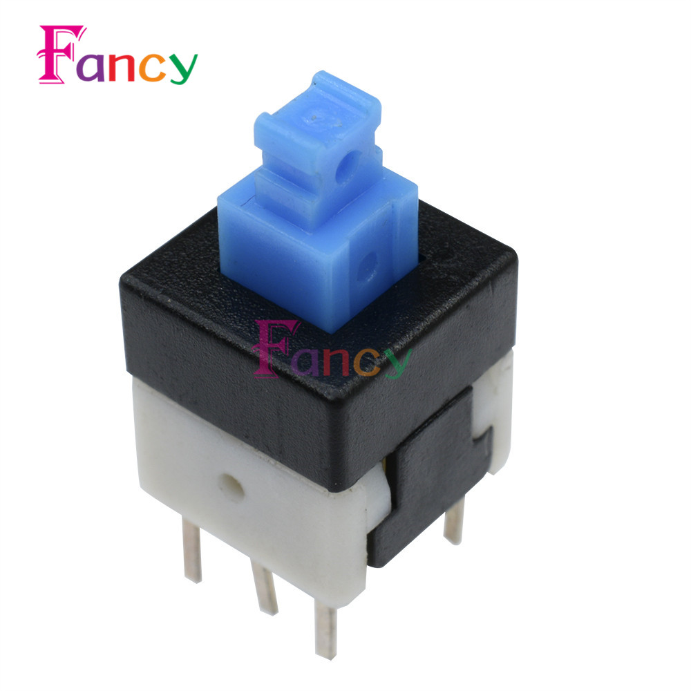 50pcs NEW 8X8mm Blue Cap Self-locking Type Square Button Switch