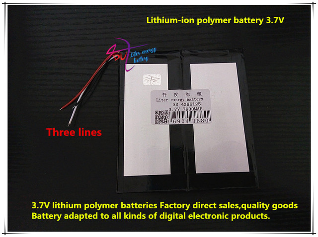 3.7V 7600mAH 4396125 Polymer lithium ion / Li-ion battery for tablet pc,POWER BANK,cell phone