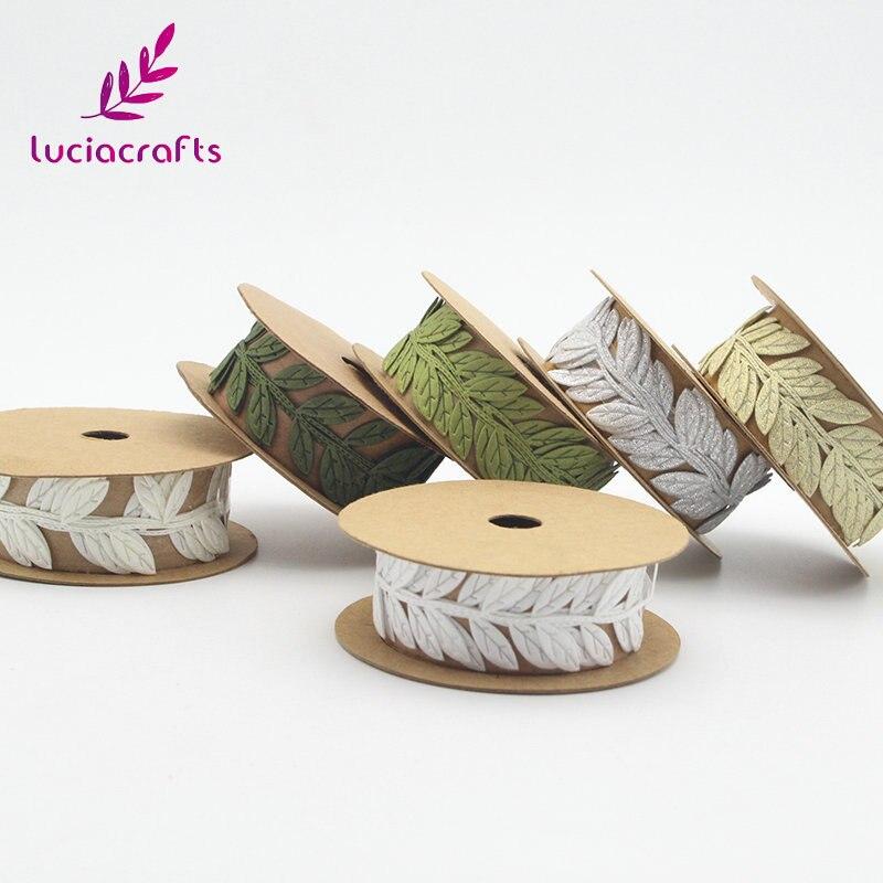 Lucia el sanatları 1yard 2.5cm yapraklar dantel Trim yaprak şeritler DIY dikiş keçe çelenk konfeksiyon aplikler Q0607