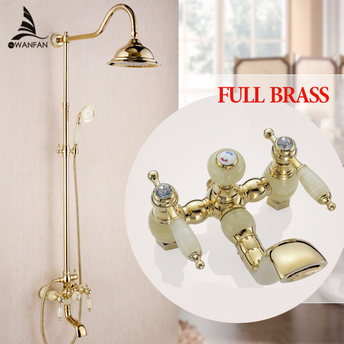 Shower Faucets New Marble Golden Bath Shower Set Brass Wall Mounted 8 Rain Shower & Handshower Faucet Set for Bath OG-223 wall mounted adjust sliding bar rain hotel shower faucet single lever 10 rain shower head ultra thins style handshower