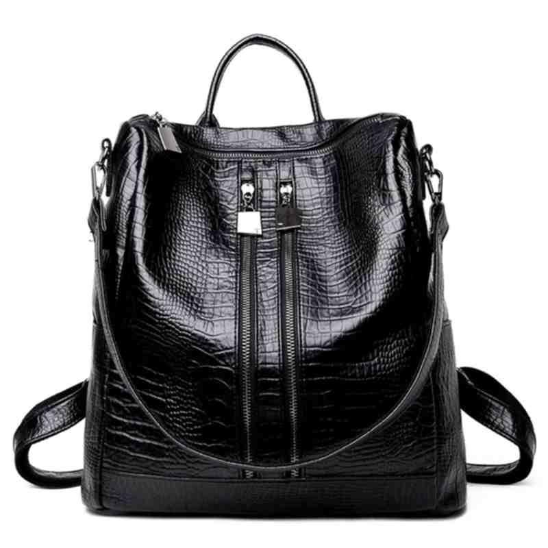 Women Backpacks Tote Zipper Crocodile Pattern Pu Lether Casual Backpacks Black Mochilas Feminina Rugzak Sac a