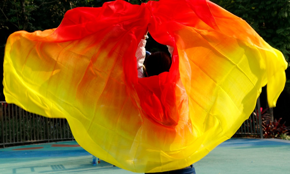 100% Silk Performance Veil Dancer Contrast Colors Light Texture Rectangular Scarf Women red orange yellow Veil Belly dance