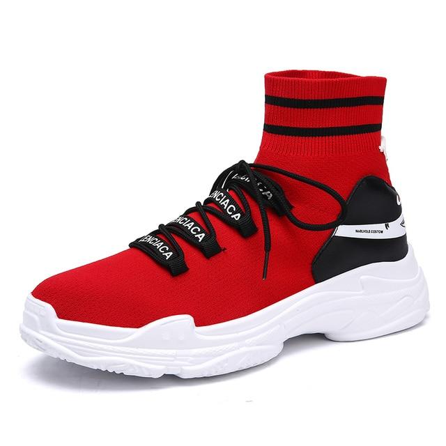 Для мужчин спортивные кроссовки Осенне-зимняя обувь Мода Новый стиль Акула Носки обувь Обувь с дышащей сеткой кроссовки Пары Спортивная обувь
