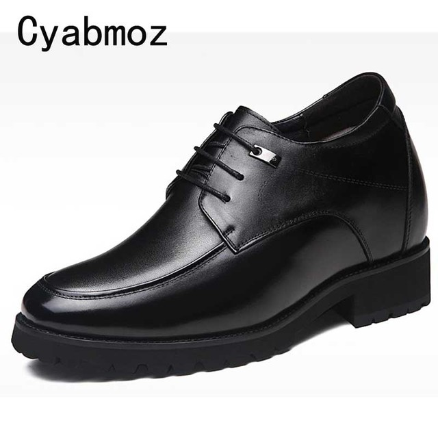 Men Genuine Leather Elevator Shoes Lace up Hidden Heel Lifts Taller 12cm 8cm Casual Shoes Height Increasing Party Wedding Oxford