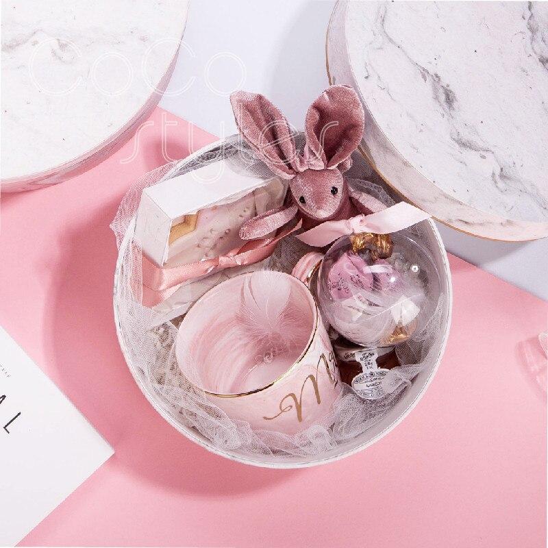 Cocostyles personnalisé ins nordique super mode ronde en marbre cadeau boîte avec tasse pour bébé cadeau boîte bébé de douche