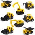 CONJUNTO de 8 unids Lindo Tire Del Juguete de Ingeniería Carretilla Elevadora Excavadora Excavar Camión Volcado Camión Grúa Grúa de Carga Rodillo de Camino
