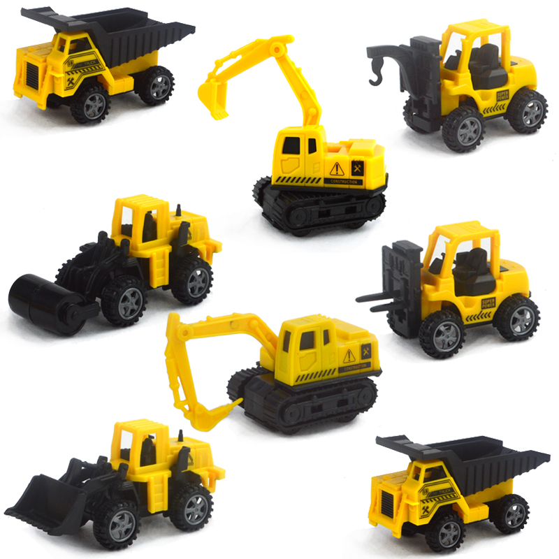 SET of 8 pcs Cute Engineering Pull Back Toy Excavator Forklift Burrow Truck Dump Truck Crane