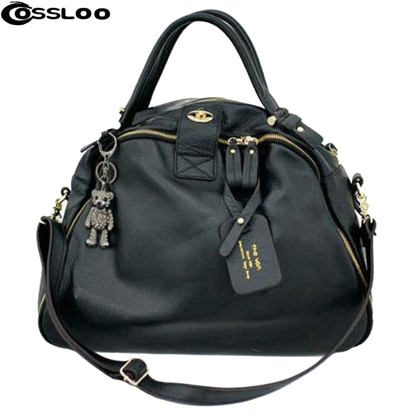 COSSLOO Top Handbags Leather Bag Women Cowhide handbag Candy Colors genuine leather handbags Free Shipping vintage