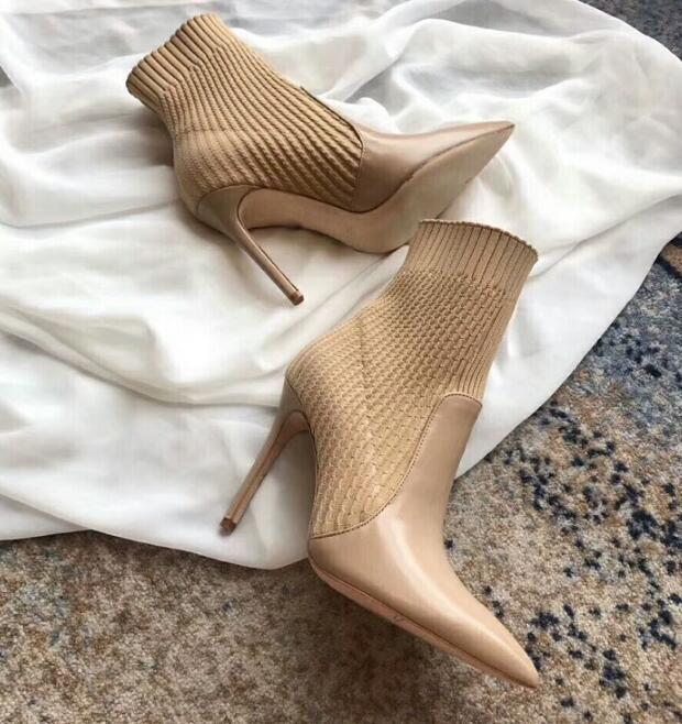 INS hot woman ankle high heel pointed