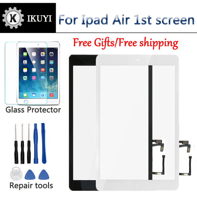 New for iPad Air 1 iPad 5 Touch Screen Digitizer and Home Button Front Glass Display Touch Panel Replacement A1474 A1475 A1476