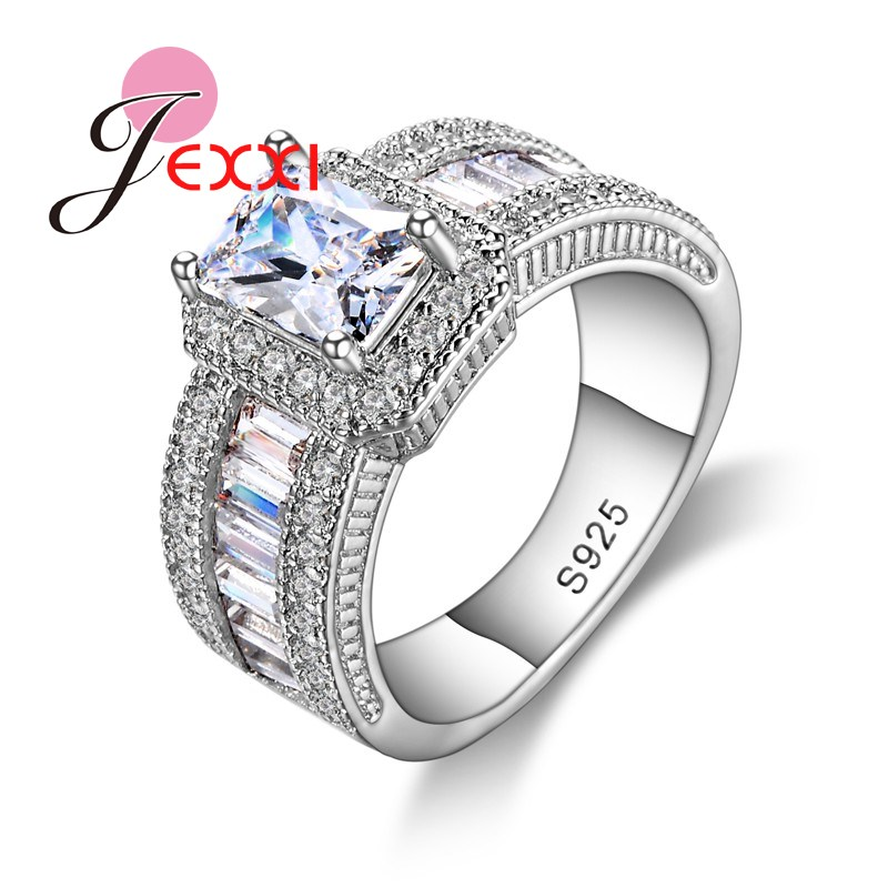 New Arrival Women Engagement 925 Sterling Silver Rings Clear Square Crystal Pendant Ring For Women Bridal Jewelry Lovers Gift