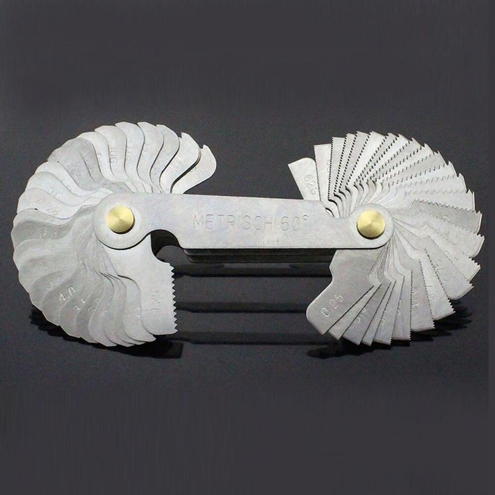 Outil de mesure de jauge en acier de coupe de pas de dent de filetage de lame chaude 52 pièces jauge métrique de 55 degrés de pouce 60 degrés