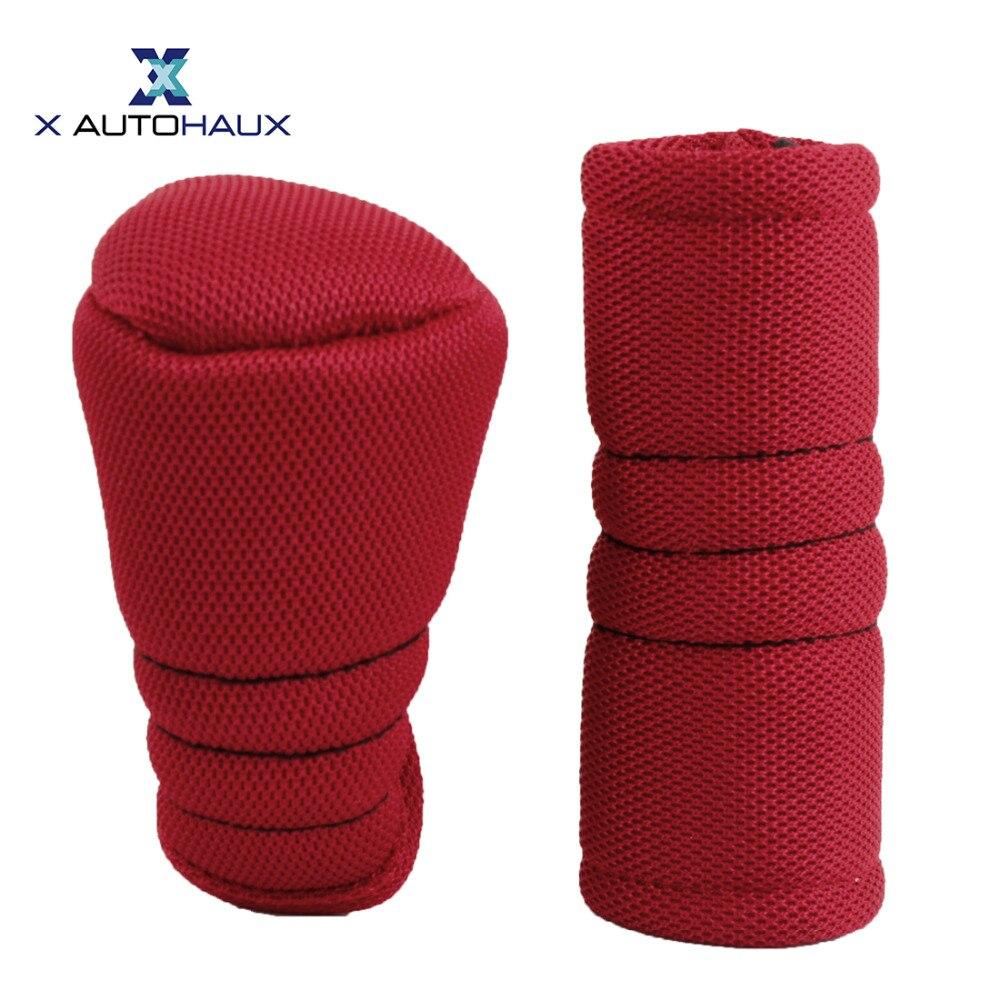 X AUTOHAUX 2pcs Red Zipper Car 11 x 6cm/ 4.3 x 2.4 inches Gear Shift Knob 12 x 4cm/ 4.7 x 1.6 inches Handbrake Cover Sleeve