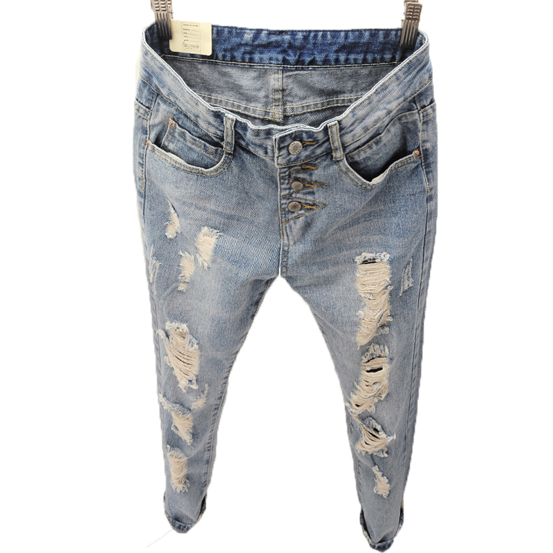 Brand New Fashion Button Up High Waist Jeans Ripped Hole Boyfriend Jeans For Women Stylish Loose Roll Up Denim Jeans Women women jeans autumn new fashion high waisted boyfriend street style roll up bottom casual denim long pants sp2096