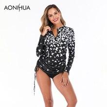 Aonihua Butterfly Pattern Swimming Suit For Women Plus Size Swimwear swimsuit Long Sleeve Two Piece Swimsuit Summer Beachwear plus size short sleeve floral pattern swimwear for women