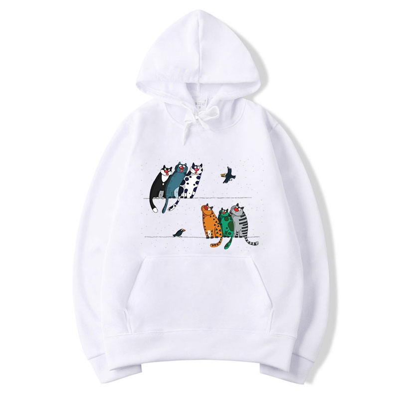 Hoodies Cats Thin Casual Sweatshirts Men/Womens Hoodie With Hat Hoody Kangroo Pocket Hip Hop Hooded Clothes Pullover 3