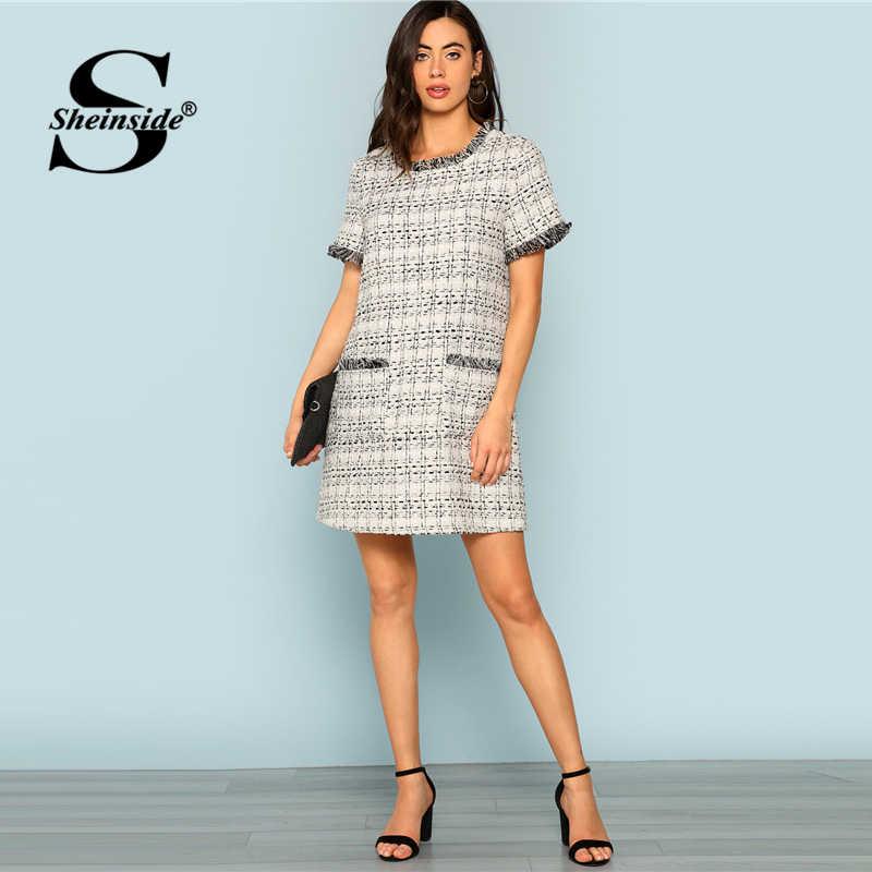 7c571ef626e ... Sheinside плед серый короткий рукав платье в офисном стиле женские  офисные твид потертые края жабо прямо ...