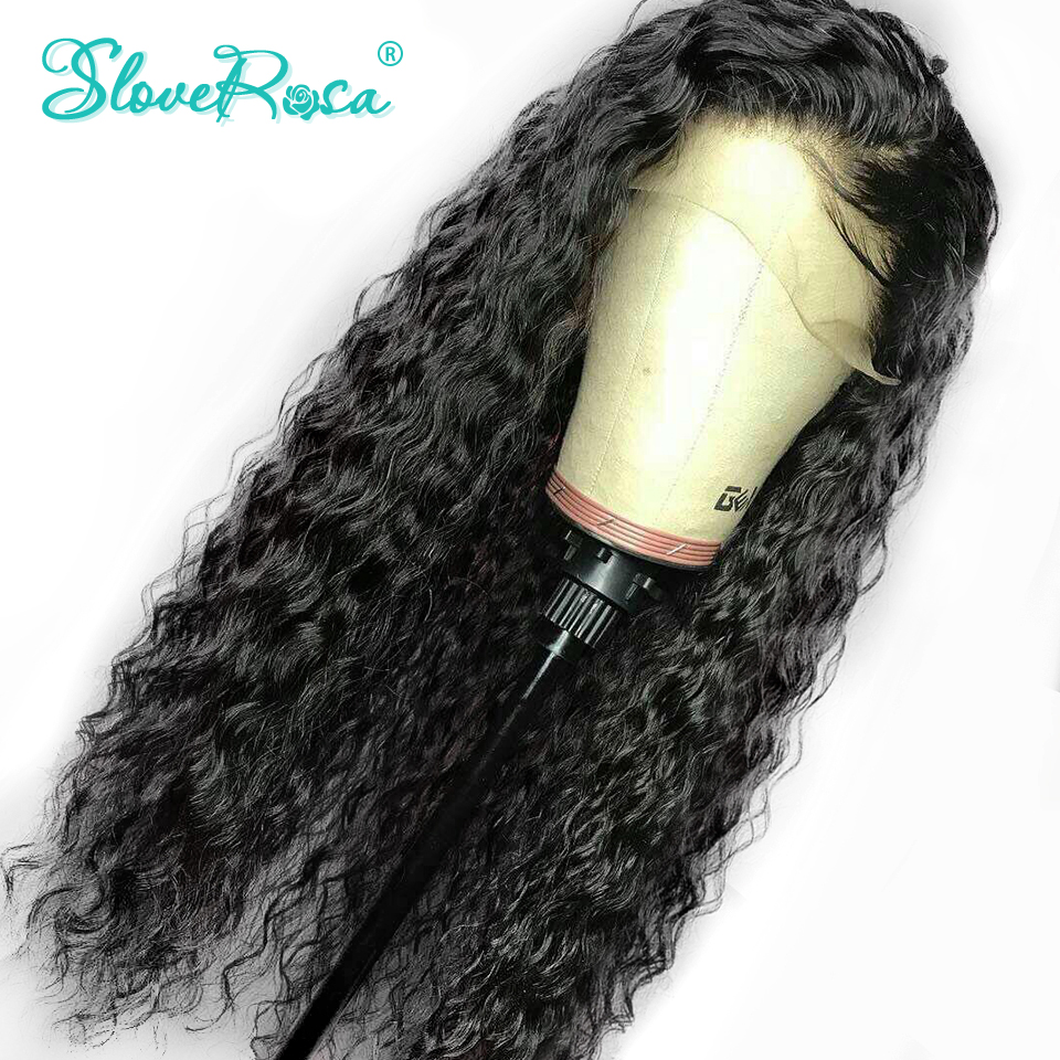 Curly Lace Front Human Hair Wigs For Black Women Remy Peruvian Hair Frontal With Baby Hair Pre Plucked Full End Slove Rosa(China)