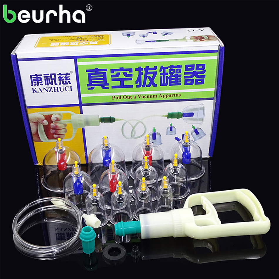 12PCS Magnetic Cans for Massage Suction Cup Acupuncture Massage Cupping Therapy Set Thicken Vacuum Cupping Explosion-proof Cups povihome 12pcs cupping device acupuncture suction cup set massage cup magnetic therapy vacuum cups tank gas cylinders c839