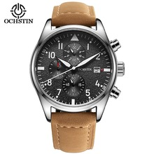 Luxury Mens Pilot Watches Chronograph 6 Hands Leather Automa