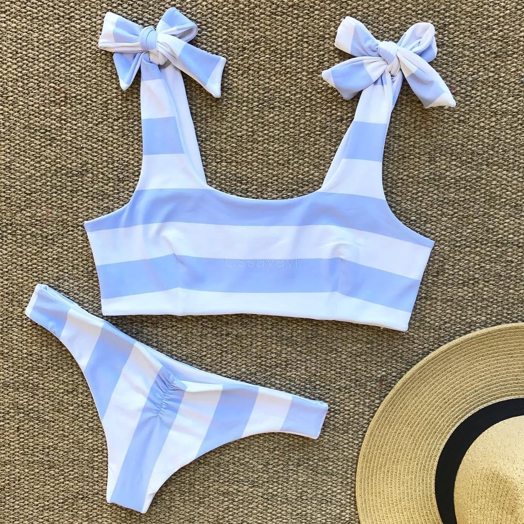 Cssayavi femme bikini set 2017 swimwear women bow swimsuit sexy biquini Tie bathing suit stripes beach wear