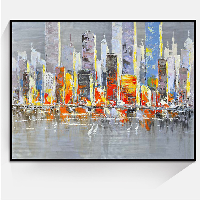 Hot Abstract City Landscape Art Oil Painting Home Decoration Paintings Wall Art Bedroom Living Room Canvas