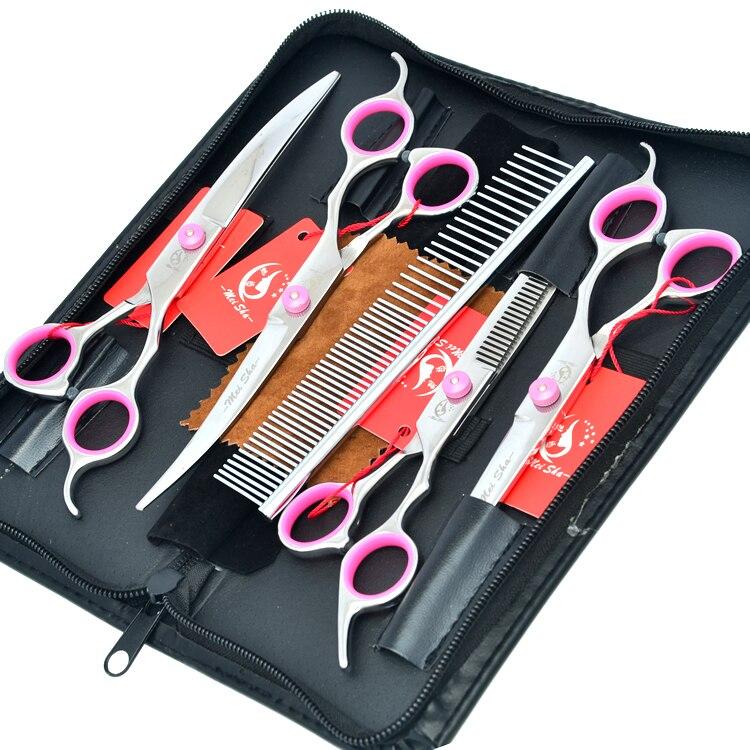 7 0 Meisha JP440C Pet Cutting Thinning Curved Dog Grooming Shears Professional Pet Grooming Scissors Set