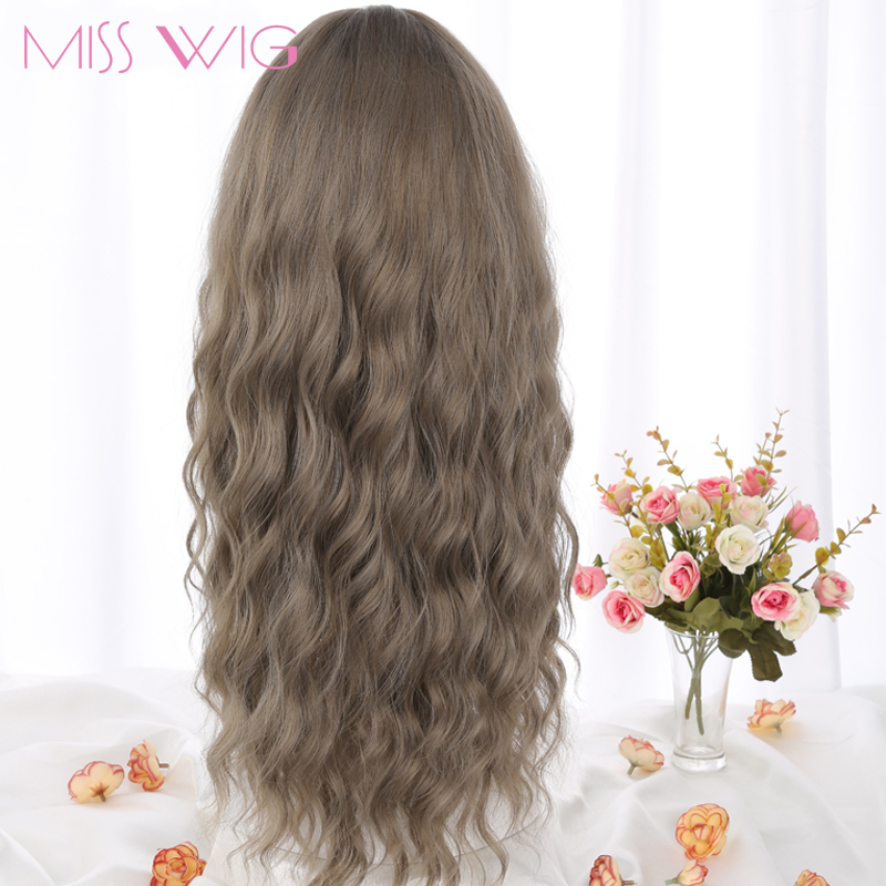 MERISI HAIR 26 SLong Grey Brown Womens Wigs with Bangs Heat Resistant Synthetic Wavy Wigs for Black Women African American+-+