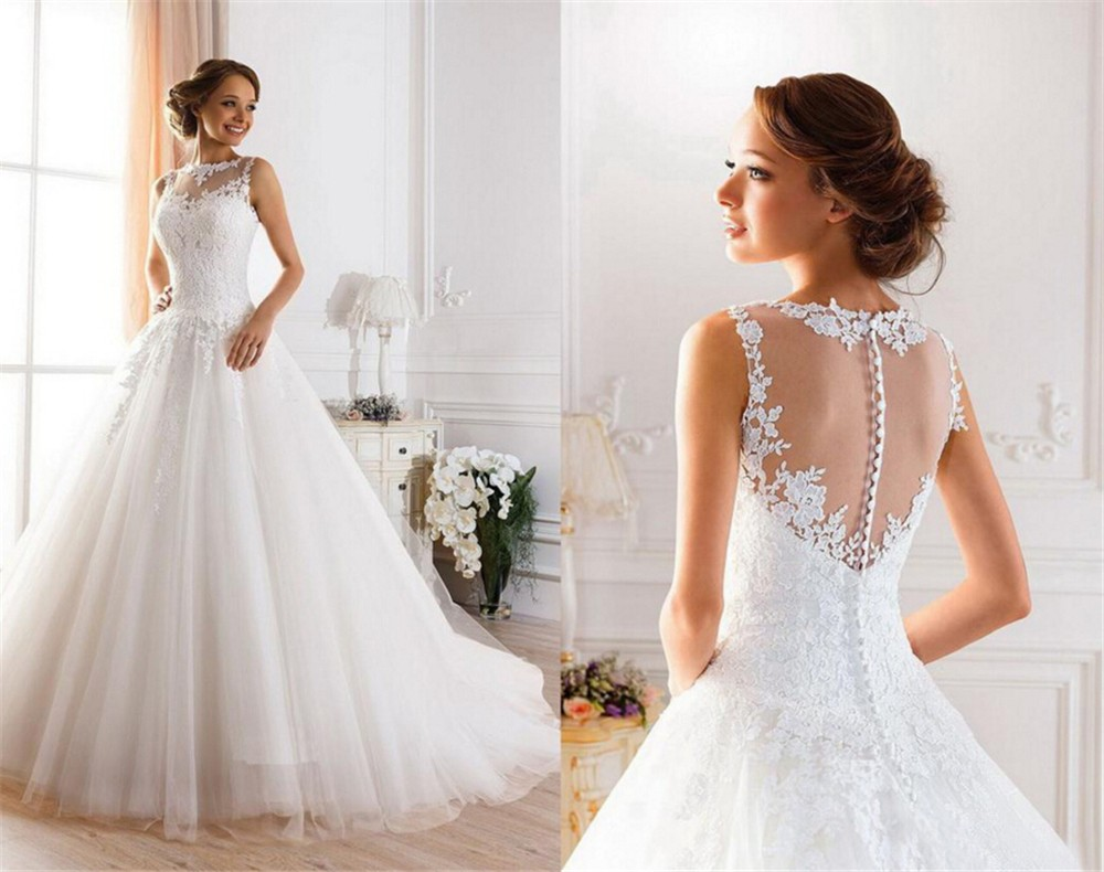 2019 Lace White Ivory A-Line Wedding Dresses For Bride Dress Gown Vintage Plus Size Customer Made Size Backless Vestido De Noiva