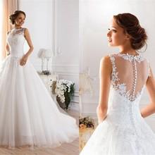 2019 encaje blanco marfil A-Line vestidos De novia vestido Vintage De talla grande hecho por el cliente sin espalda vestido De novia