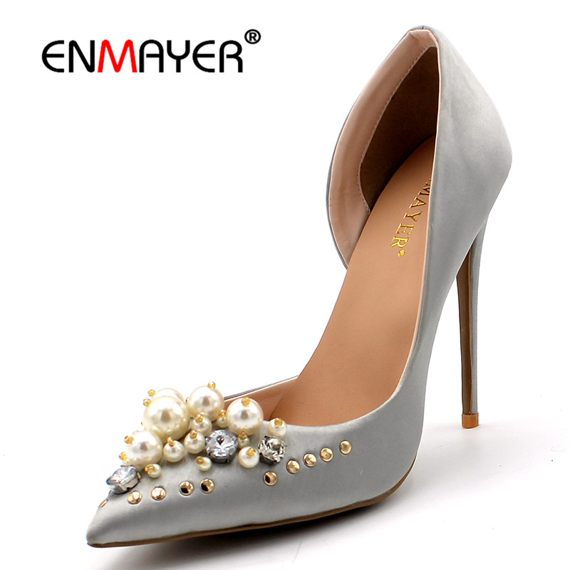 ENMAYER  Rhinestone Beading Pumps Shoes Woman Pointed Toe Slip-On Thin Heels Beige Black Blue Womens Shoes Plus Size 34-43 enmayer pointed toe sexy black lace party wedding shoes woman high heels shallow pumps plus size 35 46 thin heels slip on pumps