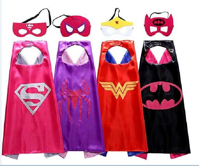 4 sets Kids Superhero capes and masks- spiderman spidergirl 70*70cm for kids Children's girl 's birthday party Halloween cosplay