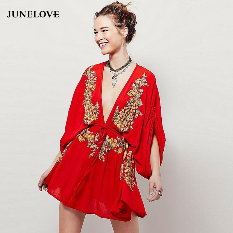 JuneLove 2018 spring women bohemian floral embroidery mini dress high waist deep v neck a line dress batwing sleeve loose dress