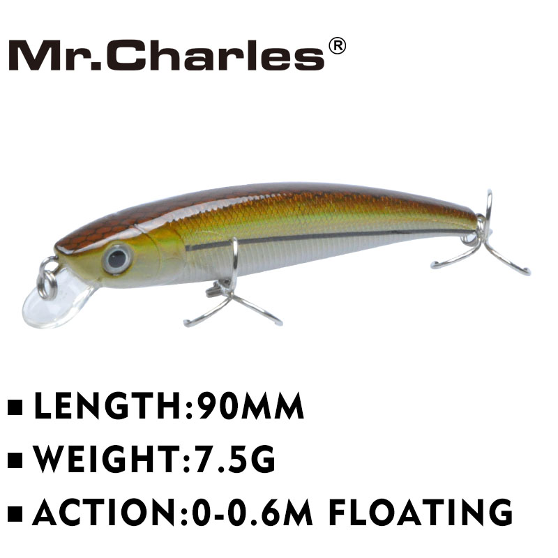 Mr.Charles MR090 1 Pcs Fishing Lure 90mm/7.5g 0-0.6m Slow Floating Minnow Hard Baits Quality Professional Lures рыболовный поплавок night fishing king 1012100014 mr 002