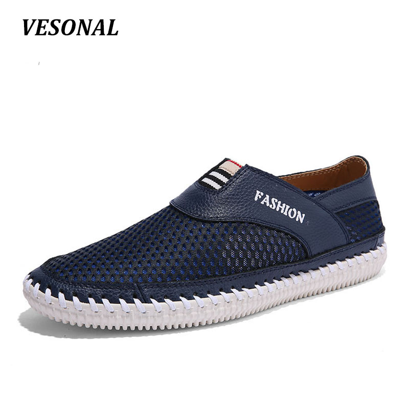 New 2017 Brand Summer Breathable Mesh Genuine leather Men Casual Shoes Loafers Slip On Soft Driving Walking Mens Blue Brown big size 46 summer breathable mesh loafers men casual shoes genuine leather slip on brand fashion flat shoes soft comfort cool