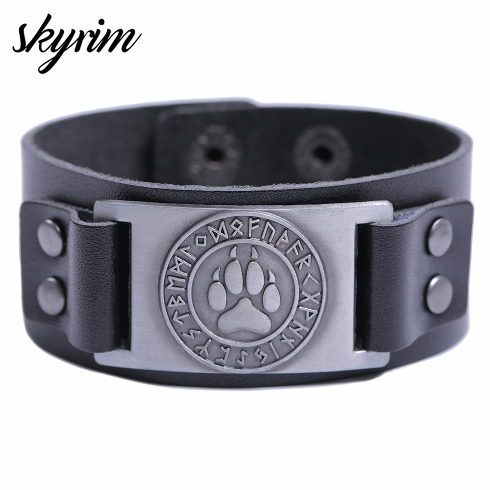 Skyrim Viking Wolf Claws Viking Bangle Nordic Runes Bear Paw Leather Wide Bracelet  Genuine Leather Strap Leather Bangles